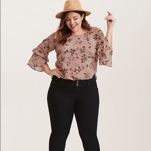 Torrid| DUSTY PINK FLORAL CHIFFON STRAPPY BLOUSE